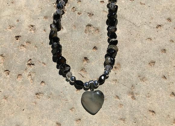 Rutilated Quartz Nuggets, Crystal Glass, Metal and Smoky Quartz Heart Necklace
