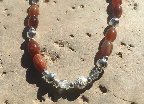 Red Agate, Crystal Glass and Metal Necklace