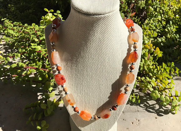 "30"" Faceted Red Agate, Wood and Metal Alloy Elastic Stretch Necklace"