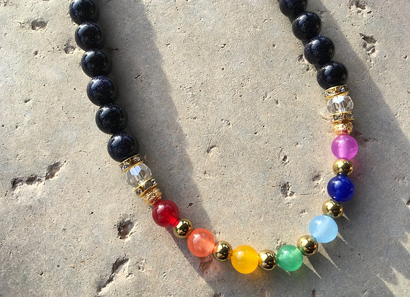 Multi Colored Jade, Blue Goldstone, Crystal and Metal Chakra/Pride Necklace