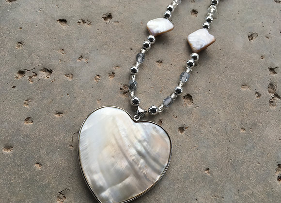Mother of Pearl Shell, Crystal and Metal with Blister Shell Pendant Necklace