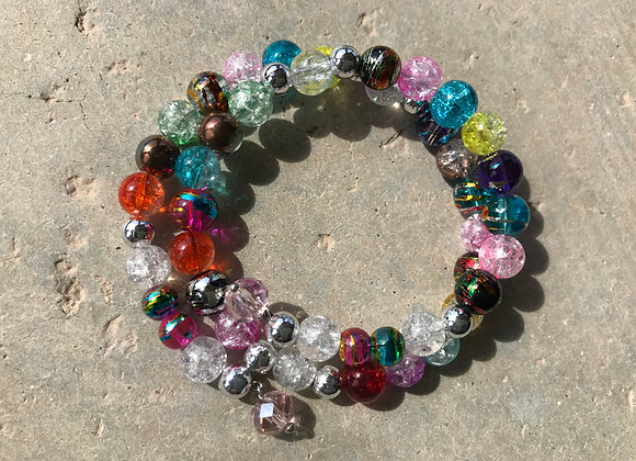 Colorful Crackle Glass Wrap Bracelet with Crystal Drop