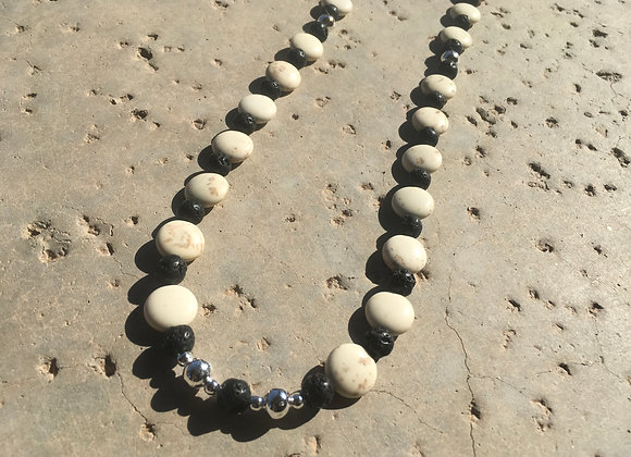 Magnesite, Lava Stone and Metal Necklace