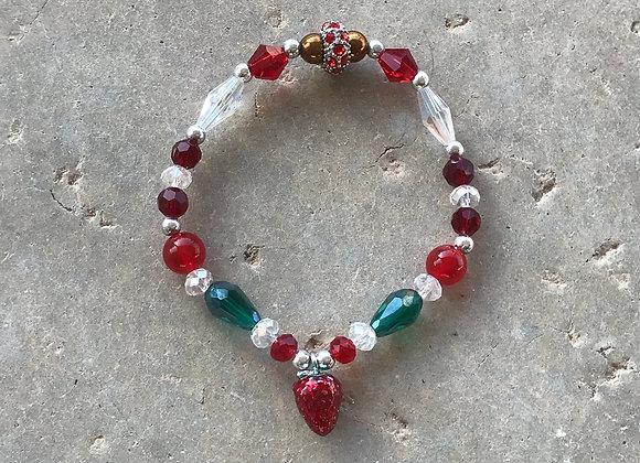 Red Jade, Hematite and Crystal with Lacquered Strawberry Bracelet - Custom Made