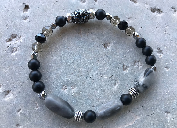 Onyx, Marble and Crystal Bracelet