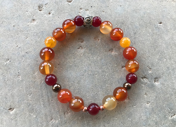 Red Agate and Hematite Bracelet