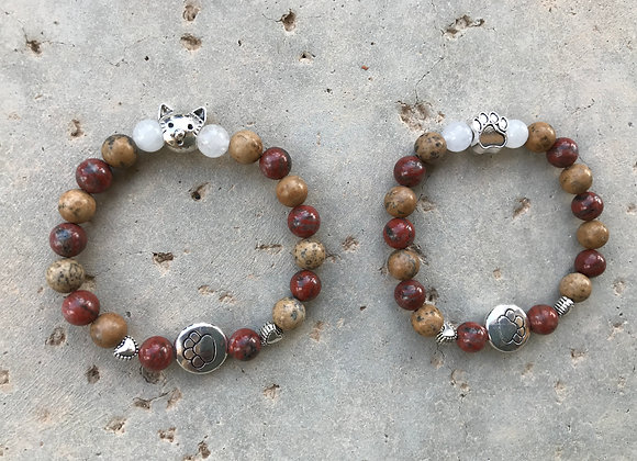 Red Seame Jasper, Grain Stone and Snow Quartz Dog/Cat Head Bracelet