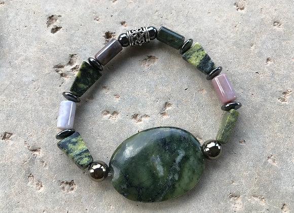 Fancy Jasper and Hematite with Serpentine Focal Bracelet