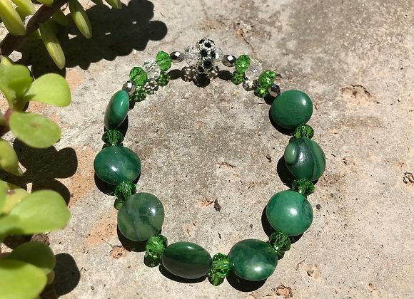African Adventurine and Crystal Glass Bracelet