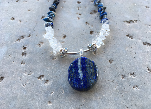 Lapis Lazuli Nuggets and Quartz Crystal Nugget and Lapis Lazuli Pendant Necklace