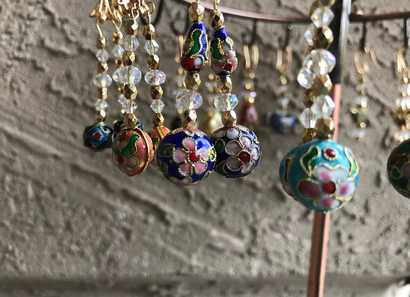 """4"""" Gold Plated Cloisonné and Crystal Glass Earrings- Multiple Styles"""