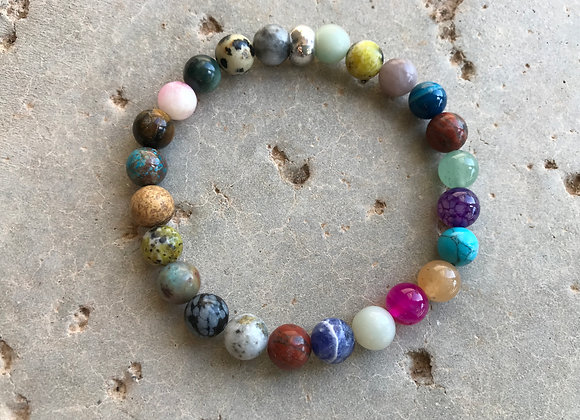 "7"" 8mm Multiple Type Gemstones Bracelet"