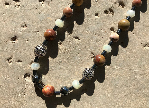 Picasso Jasper, Hematite, Crystal and Decorative Metal Bead Necklace