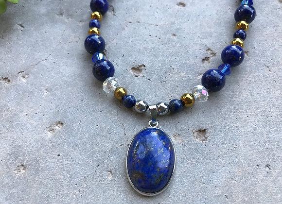 Lapis Lazuli, Hematite and Crystal with Lapis Lazuli Pendant Necklace