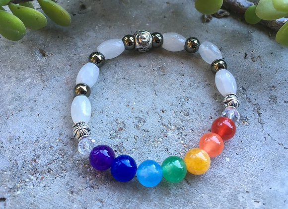Multi Colored Jade with White Jade Chakra/Pride Bracelet