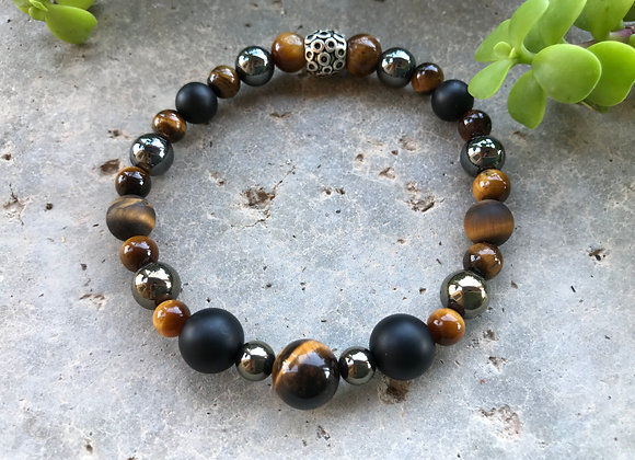 Tigereye, Matte Black Onyx and Hematite Braceletatte Tigereye,