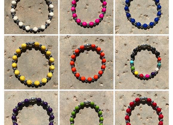 Magnesite and Metal Bracelet - Multiple Colors