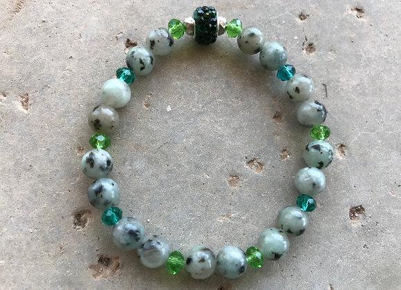 Sesame Jasper with Crystal Glass Bracelet