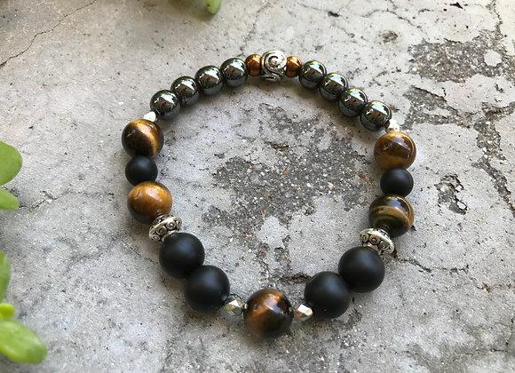 Tigereye, Onyx and Hematite Bracelet