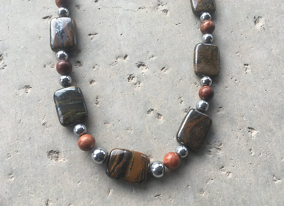 Tiger Iron Rectangle Beads, 8mm and 6mm Silvertone Hematite with 8mm Wood Beads