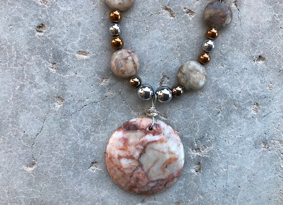 Marble and Hematite with Red Line Marble Pendant