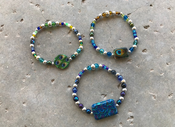 Colorful Seed Beads and Metal with Decorative Glass Focal - Multiple Styles