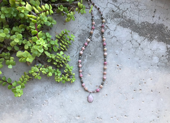 Rhodochrosite, Landscape Stone, Hematite, Crystal, Rose Quartz Pendant Necklac