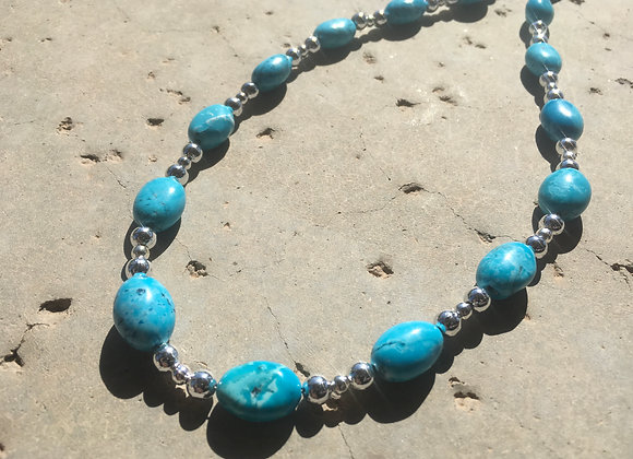 Turquoise Blue Magnesite (Dyed) and Metal Necklace