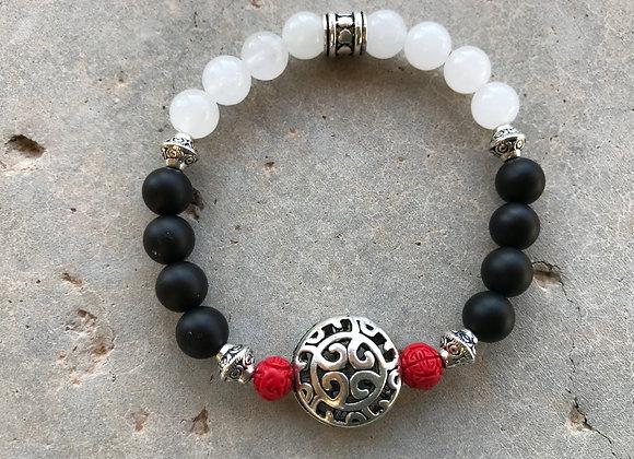 Onyx, Snow Quartz and Cinnabar with Focal Bracelet- Two Styles