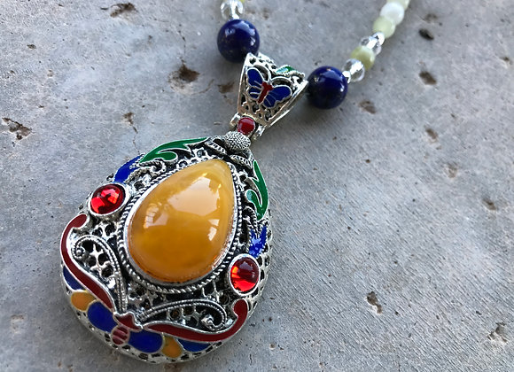 Italian Onyx, Lapis Lazuli, Crystal Glass and Tibetan Style Pendant Necklace