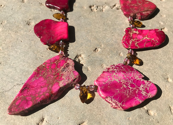 Wild Pink Impression Jasper with Crystal Necklace