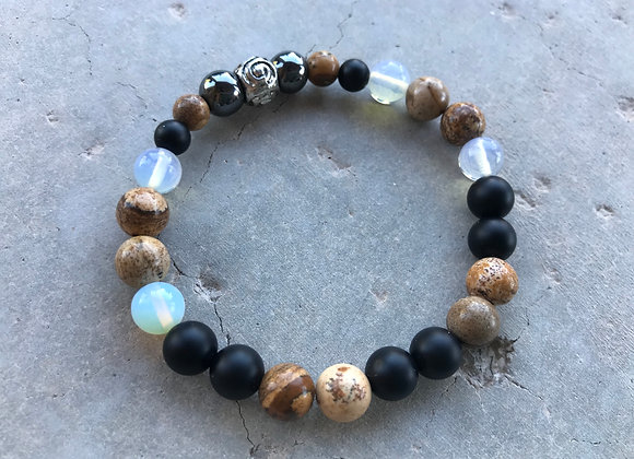 Picture Jasper, Onyx, Moonstone and Hematite Bracelet - Two Styles