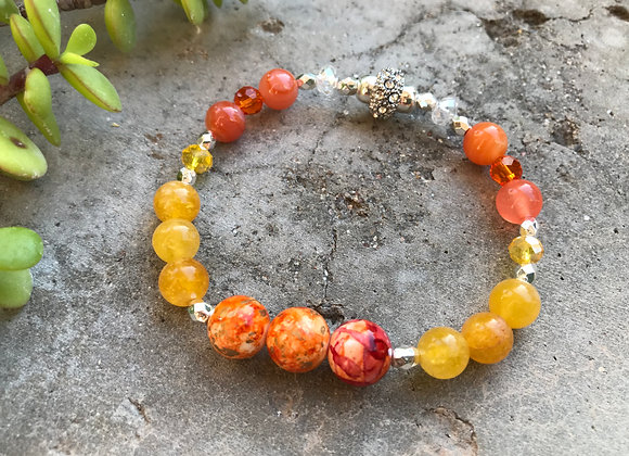 Yellow Jade and Decorative Glass with Crystal Bracelet