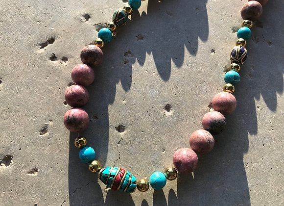 Rhodonite, Magnesite and Hematite with Turquoise and Coral Spacers Necklace