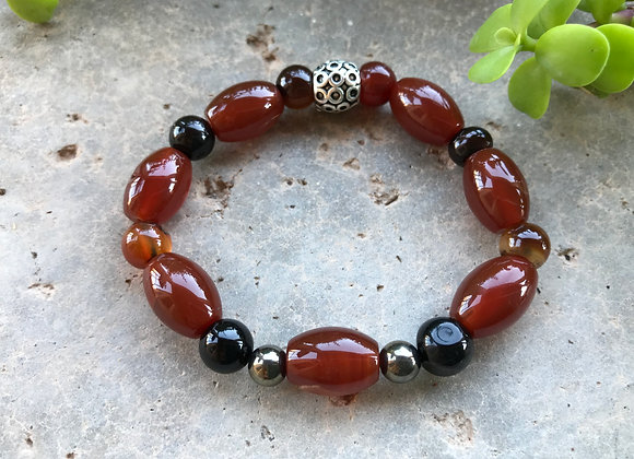 Agate and Hematite Bracelet