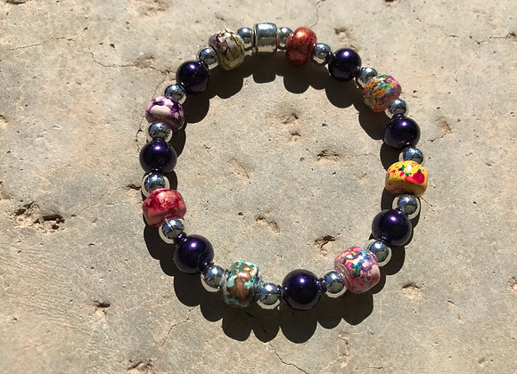 Decorative Glass and Metal Bracelet