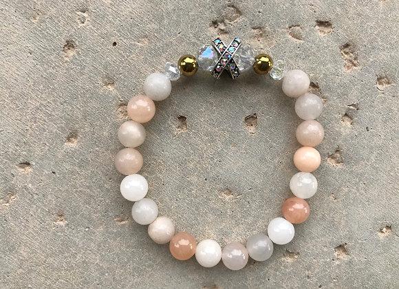 Pink Adventurine, Crystal and Hematite Bracelet