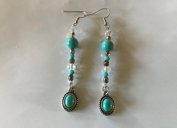 Magnesite and Crystal Glass with Oval Drop Earrings