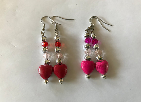 Magnesite Heart and Crystal Glass Drop Earrings