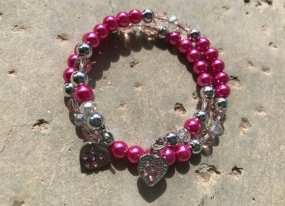 Glass, Crystal and Metal Beads with Two Hearts Wrap Bracelet -Pink