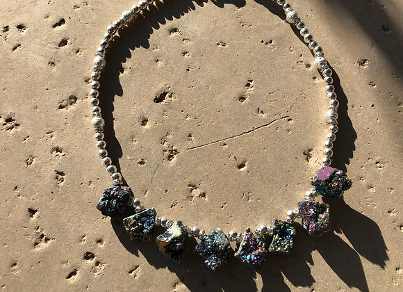 Druzy Crystals and Metal Necklace
