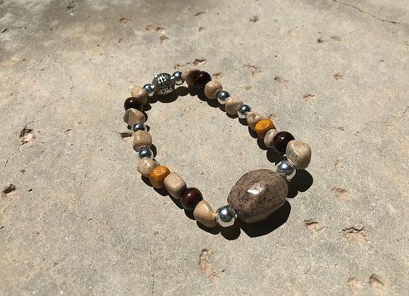 Brown Sand Jasper, River Rock, Wood and Metal Bracelet