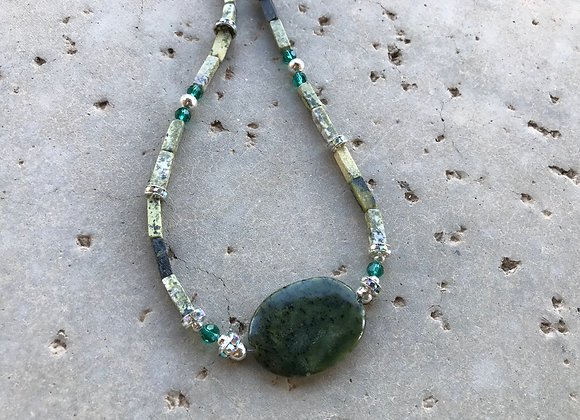 Yellow Turquoise, Crystal Glass and Metal with Serpentine Focal Necklace