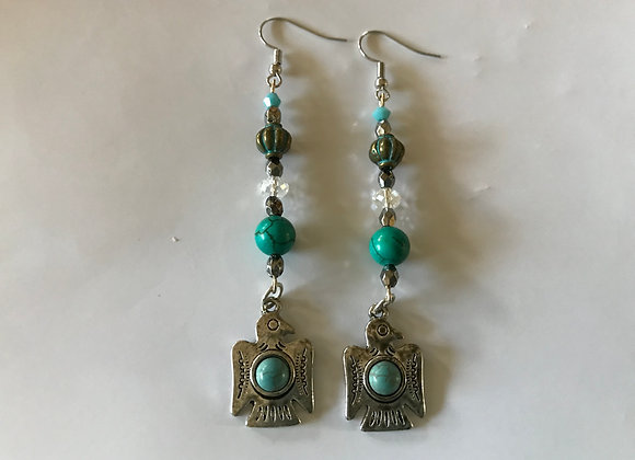 Magnesite and Crystal Glass Thunderbird Drop Earrings