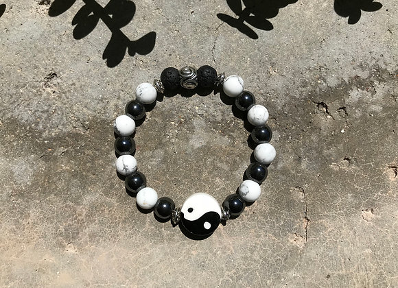 Howlite, Hematite and Lava Stone with Large Yin Yang Focal Bracelet