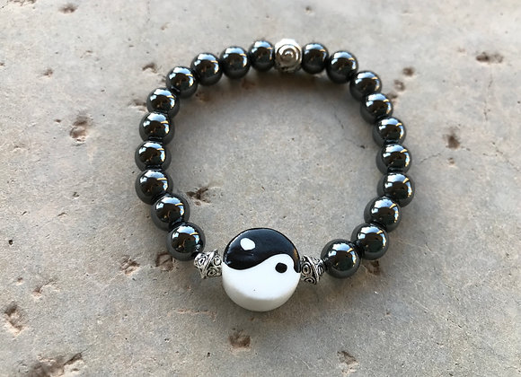 Hematite with Large Resin Yin Yang Focal