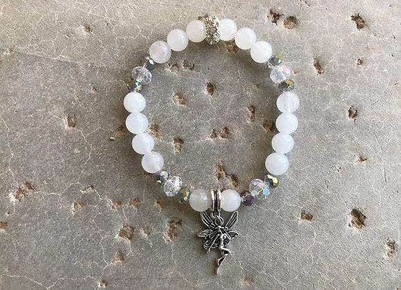 Snow Quartz and Crystal Glass Fairy Charm Bracelet