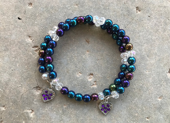 Glass and Crystal with Crystal Dro Wrap Bracelet - Two Hearts