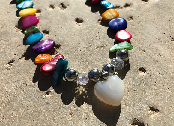 Dyed Mother of Pearl with Snow Quartz Heart Pendant Necklace
