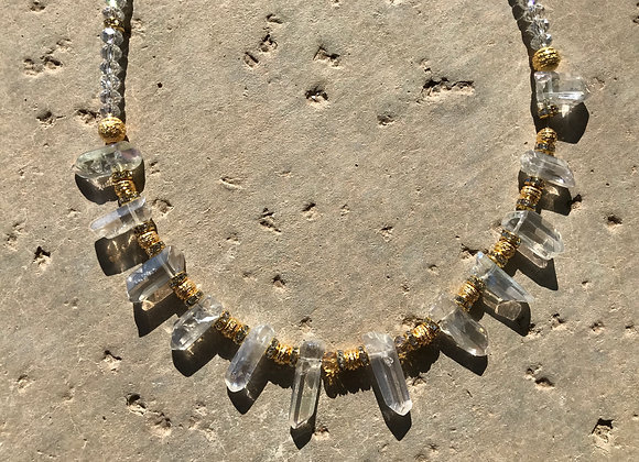 Quartz Crystal with Decorative Goldtone Metal Beads
